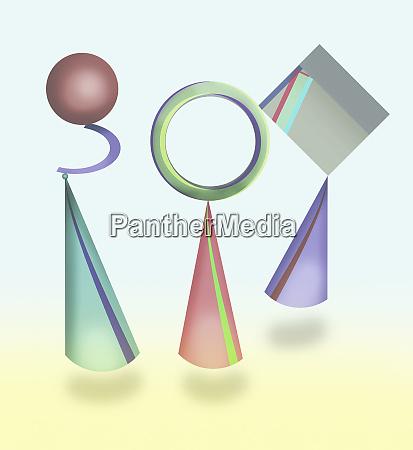 abstract balancing geometric shapes