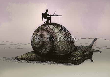 slow office worker sitting on top