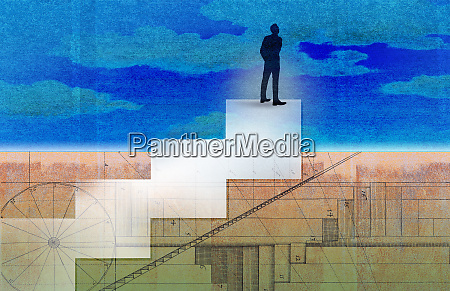 businessman standing on top of diagram