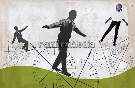 business people balancing on compass wheels