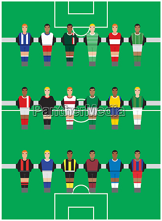table football players all wearing different