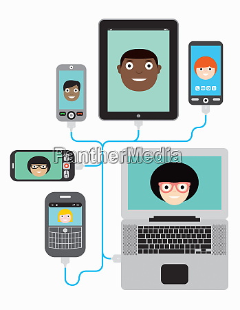 lots of people video conferencing using