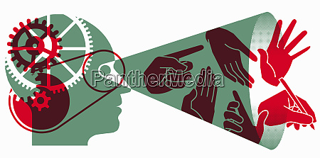 man with cogs inside of head
