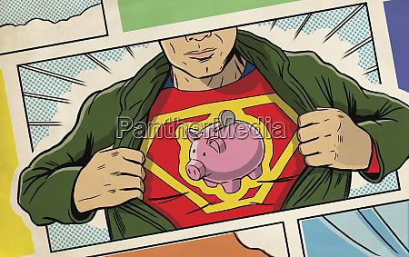superhero opening shirt and revealing piggy
