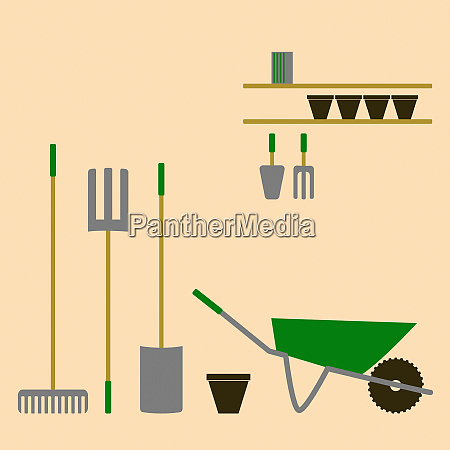 neatly organised gardening tools