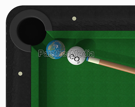 co2 cue ball about to hit
