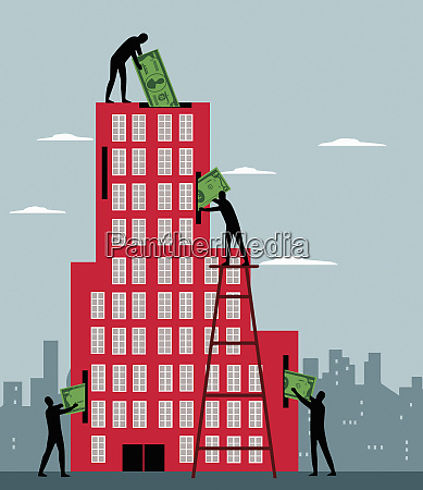 men investing money in office building