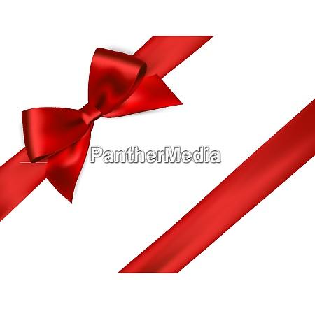 shiny red satin ribbon on white