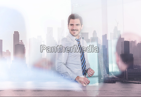 confident company leader on business meeting