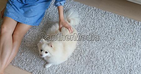 woman cuddle on her dog at