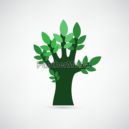 hand forming a tree with leaves