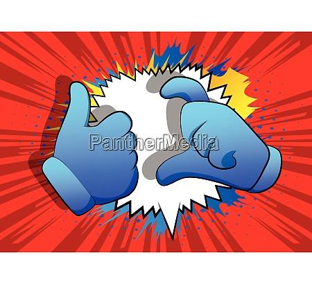 vector cartoon hands making friend zone