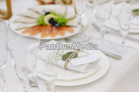 wedding place setting with napkin on