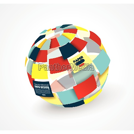 colorful 3d paper ball broken into