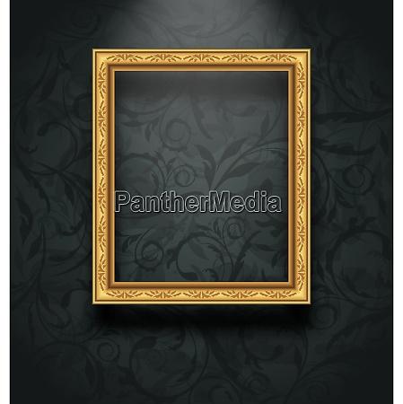 illustration picture frame on floral texture