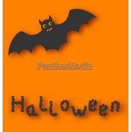 illustration cartoon bat with with text