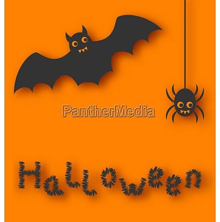 illustration cartoon bat and spider on