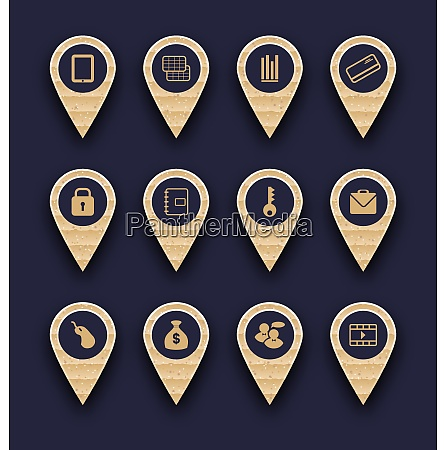 illustration set business infographics icons for