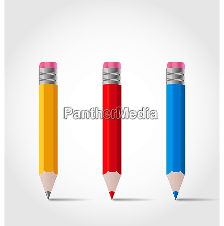 illustration set colorful wooden pencils with