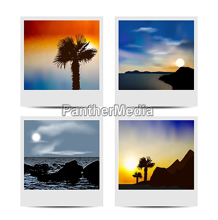 illustration set photo frames with beaches