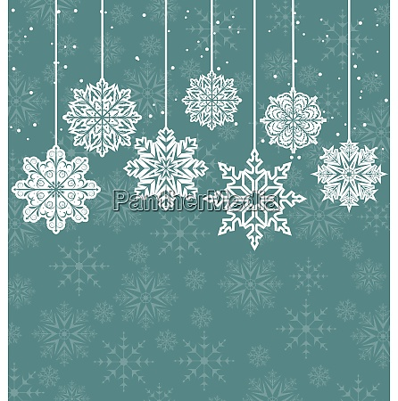 illustration christmas background with variation snowflakes