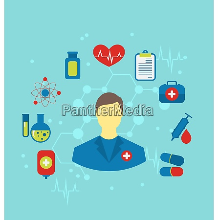 illustration doctor with flat medical icons