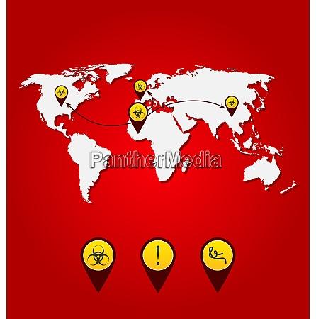 illustration virus ebola outbreak world map