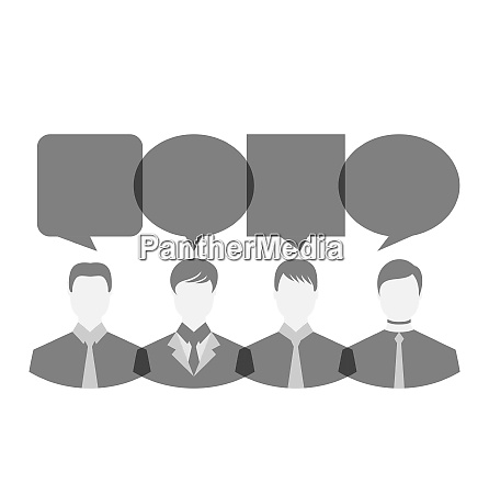 illustration icons of businessmen with dialog