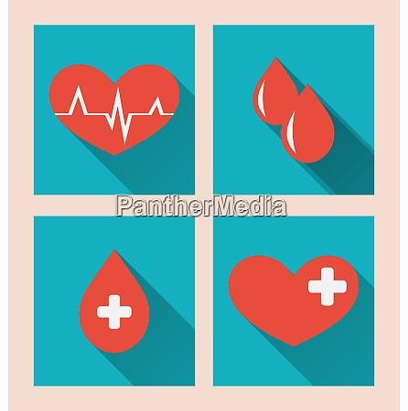 illustration flat medical icons of donate