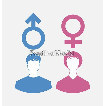 illustration male and female icons gender