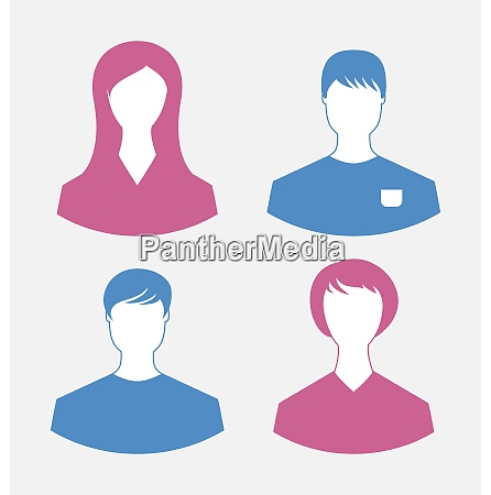illustration male and female user icons