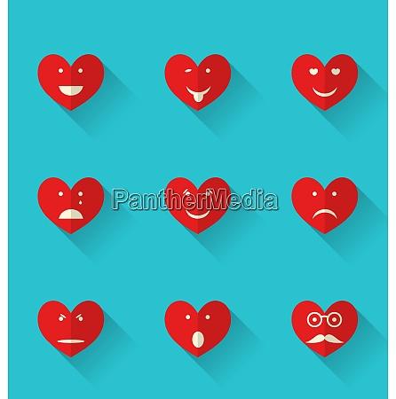 illustration set flat icons of smiles