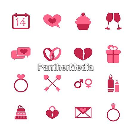 illustration trendy flat icons for valentines