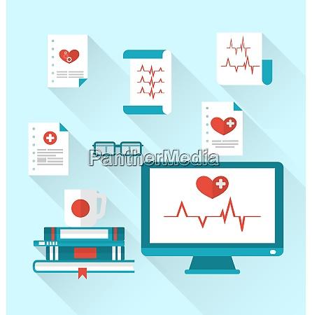 illustration set modern flat medical icons