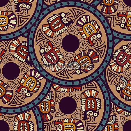 aztec seamless pattern with fish indian