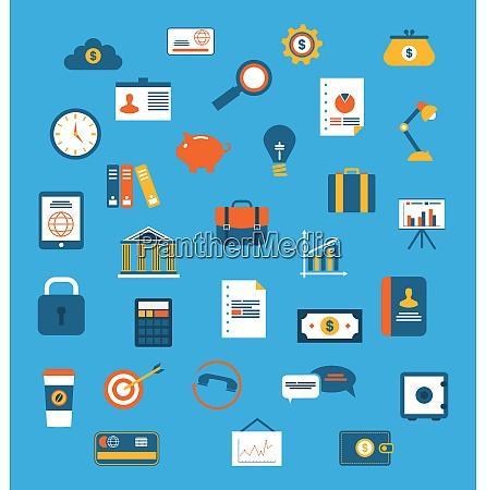 illustration set flat icons of web