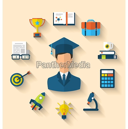 illustration flat icons of magister and