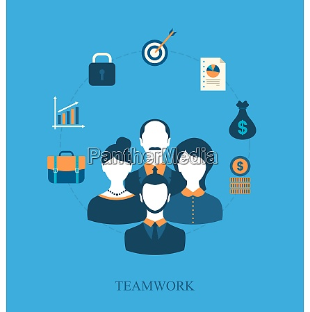 illustration concept of teamwork of business
