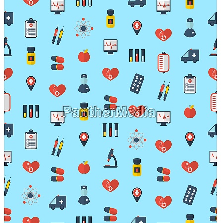 illustration medical seamless pattern flat simple