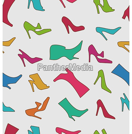 illustration seamless pattern with colorful women