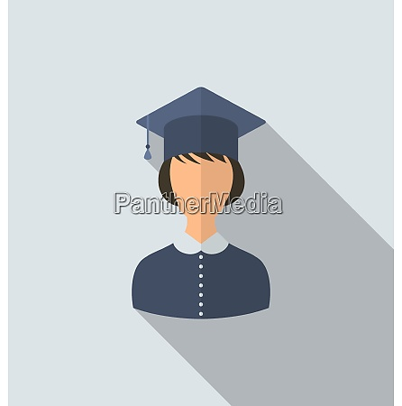 illustration flat icon of female graduate