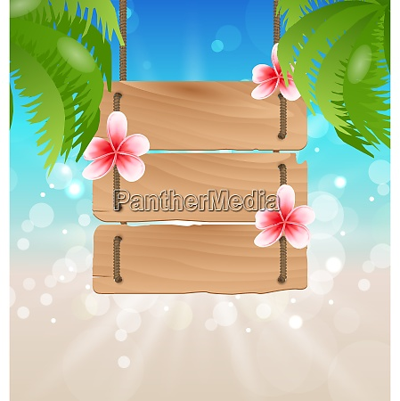 illustration hanging wooden guidepost with exotic