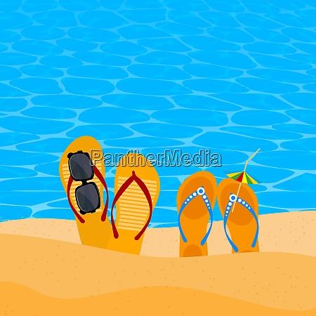 two pairs slap on the seashore