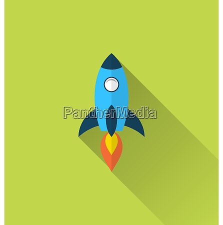 illustration flat icon of rocket with