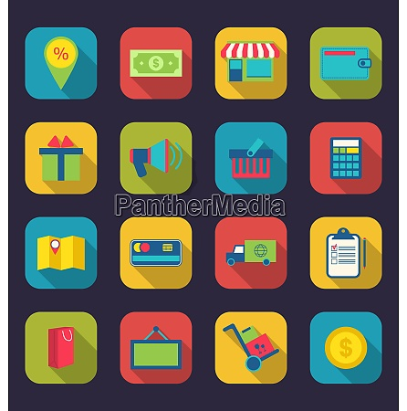 illustration set flat colorful icons of