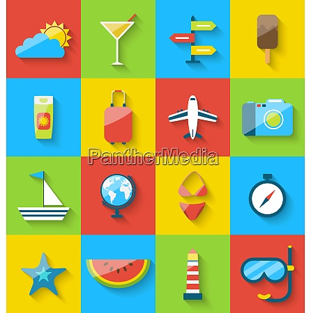 illustration flat modern design set icons
