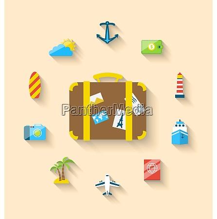 illustration flat set icons tourism objects