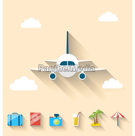 illustration flat set icons of planning