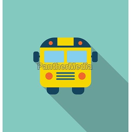 illustration school bus flat icon with