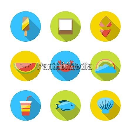illustration symbols of planning summer vacation